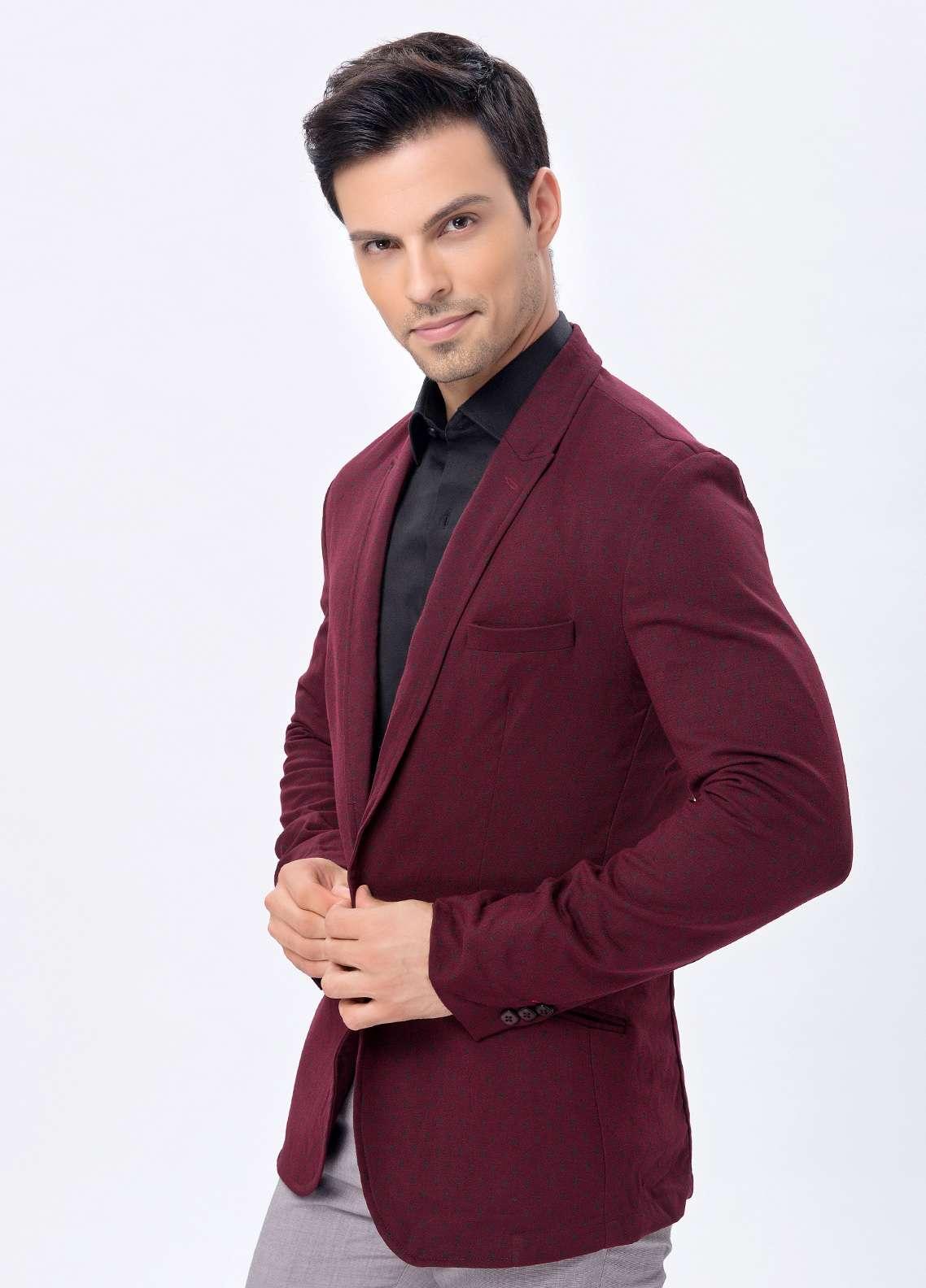 Edenrobe Cotton Casual Blazers for Men - Maroon EDM18B-6615
