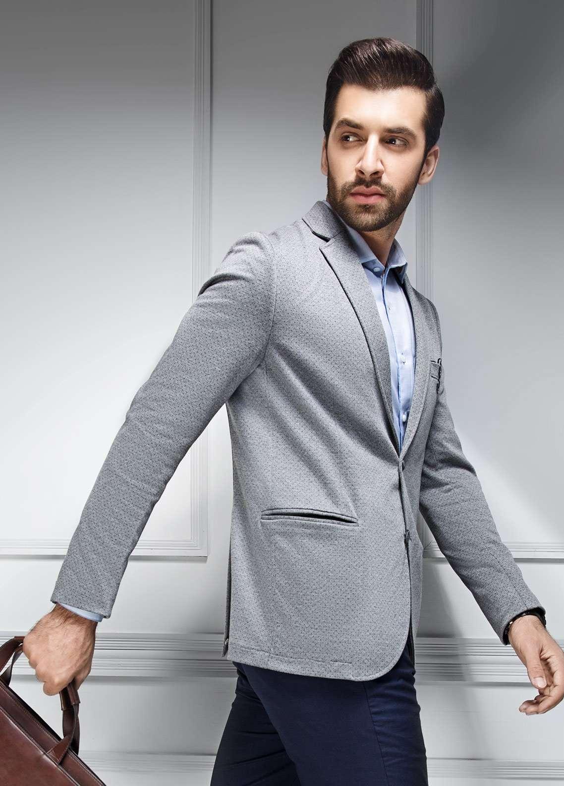 Edenrobe Cotton Casual Blazers for Men - Grey EDM18B-6619