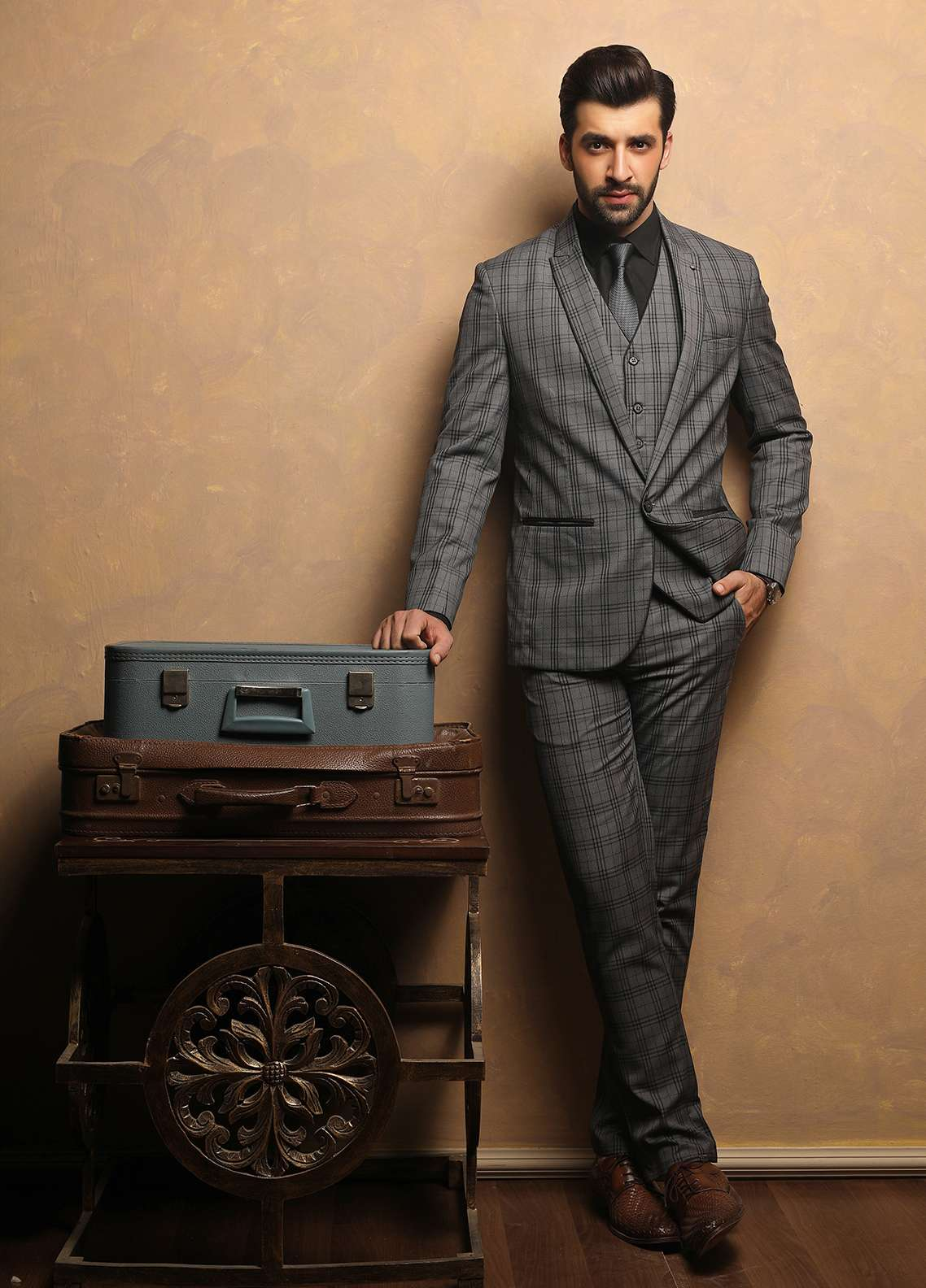 Edenrobe Cotton Ceremonial Suits for Men - Grey EDM18S 6636