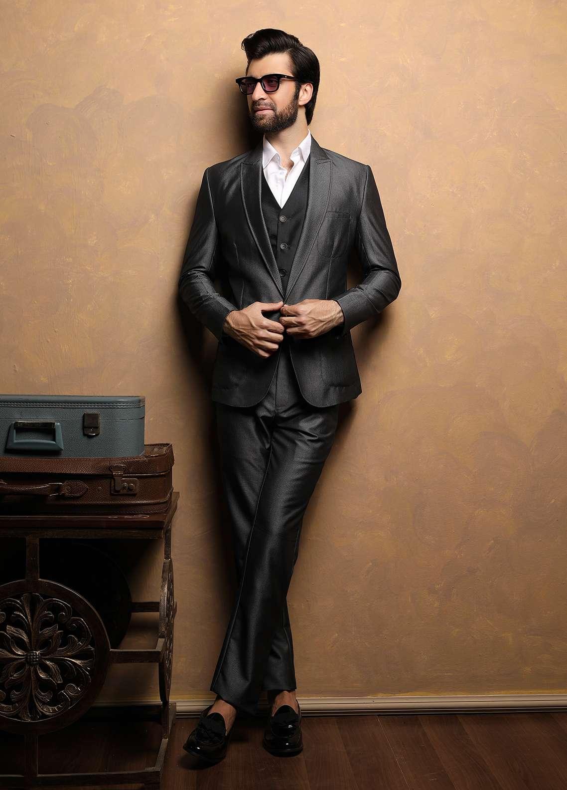 Edenrobe Cotton Ceremonial Men Suits - Black EDM18S 6637