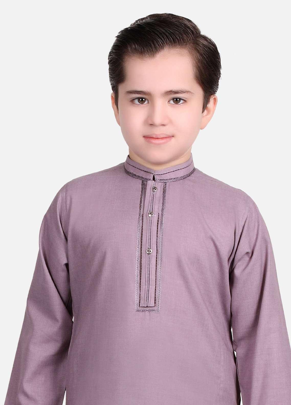 Edenrobe Cotton Embroidered Boys Kameez Shalwar - Purple EDS18B 3533