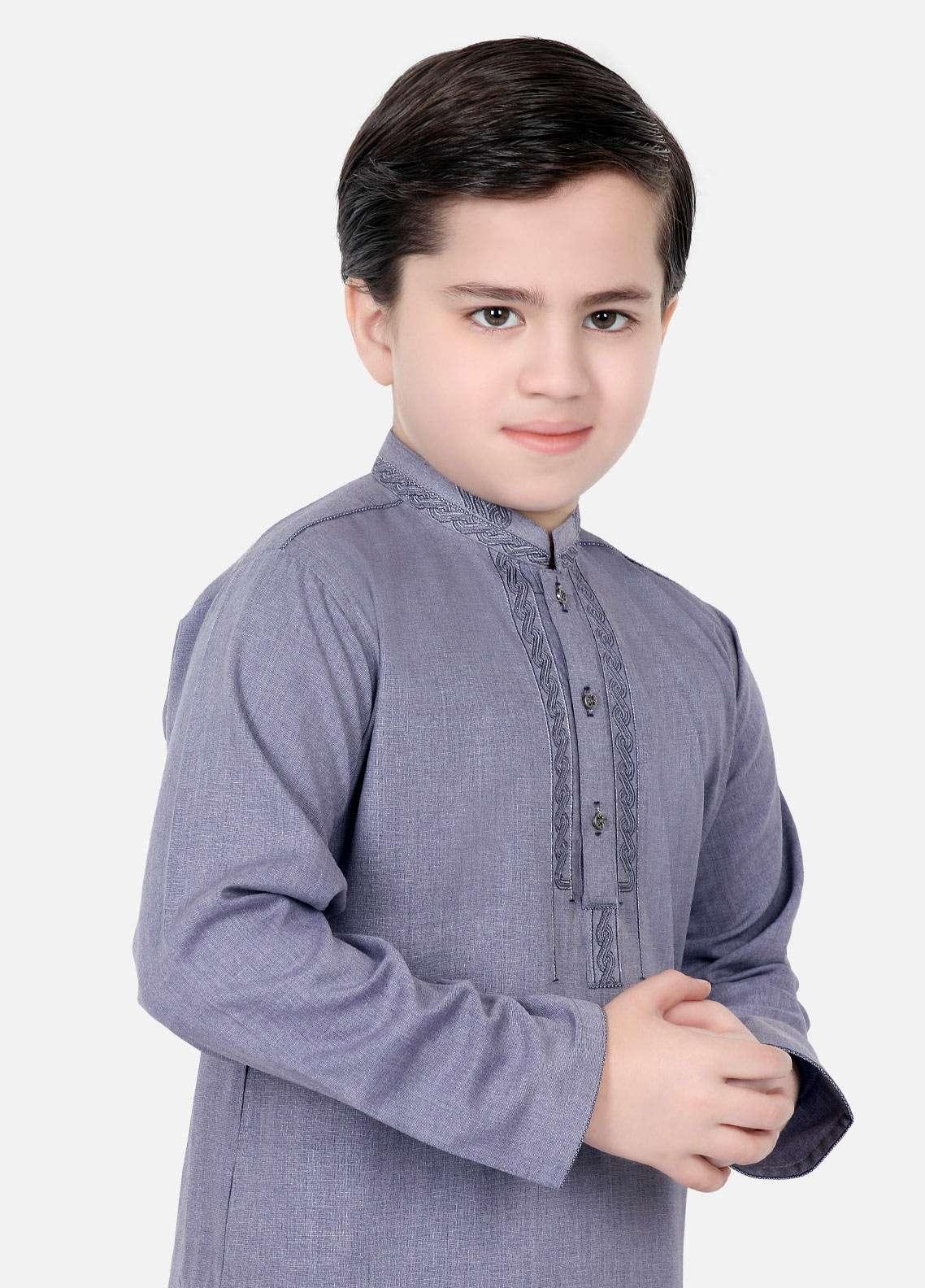 Edenrobe Cotton Embroidered Boys Kameez Shalwar - Blue EDS18B 3537
