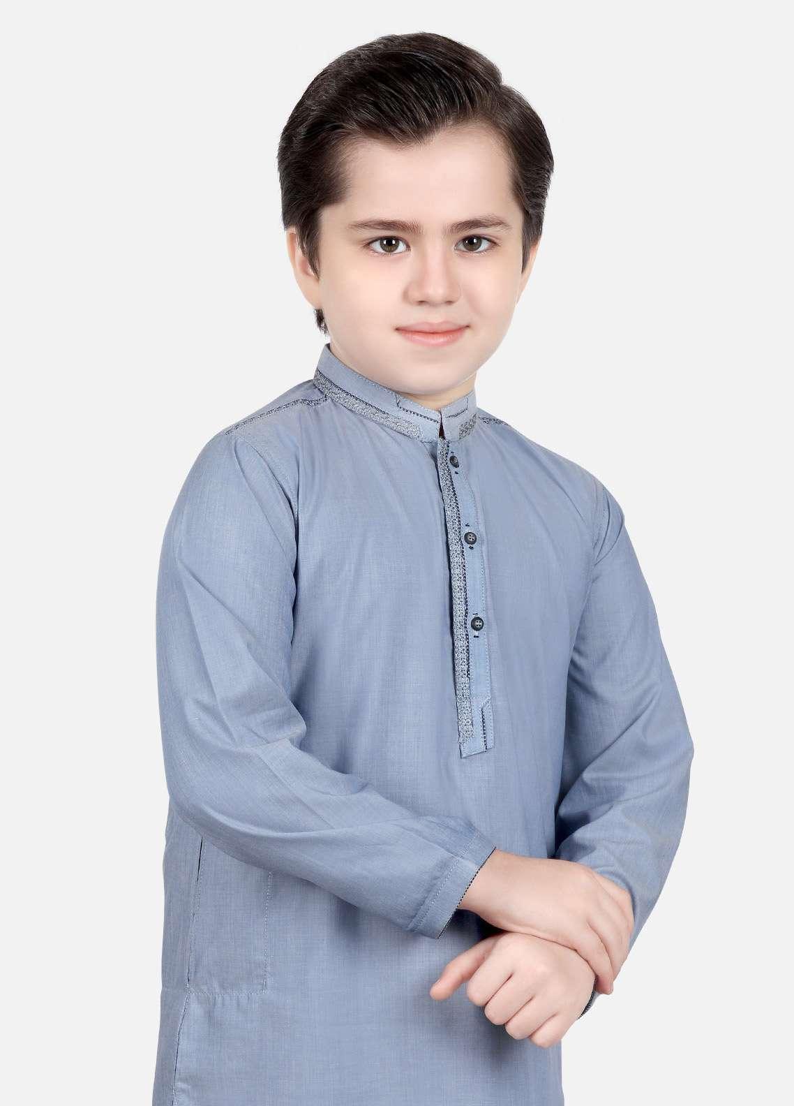 Edenrobe Cotton Embroidered Boys Kameez Shalwar - Blue EDS18B 3545