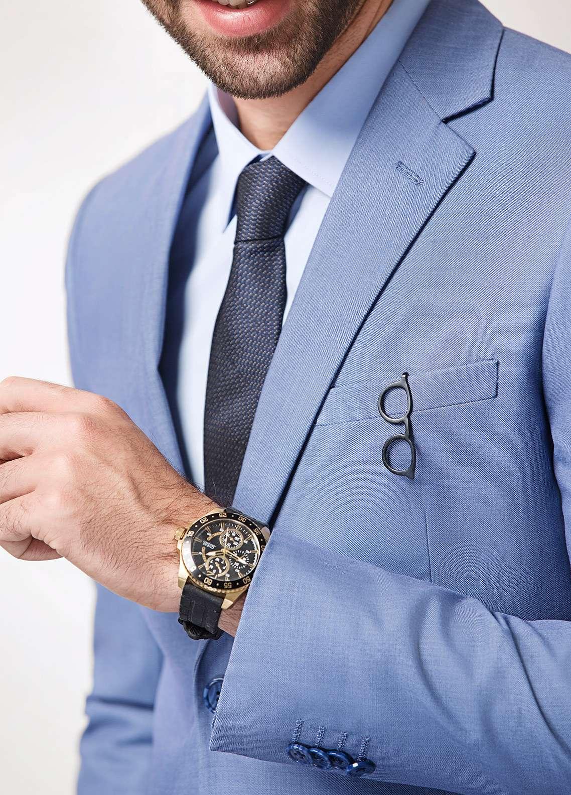 Edenrobe Cotton Formal Suits for Men - Blue EDM18FS 8079