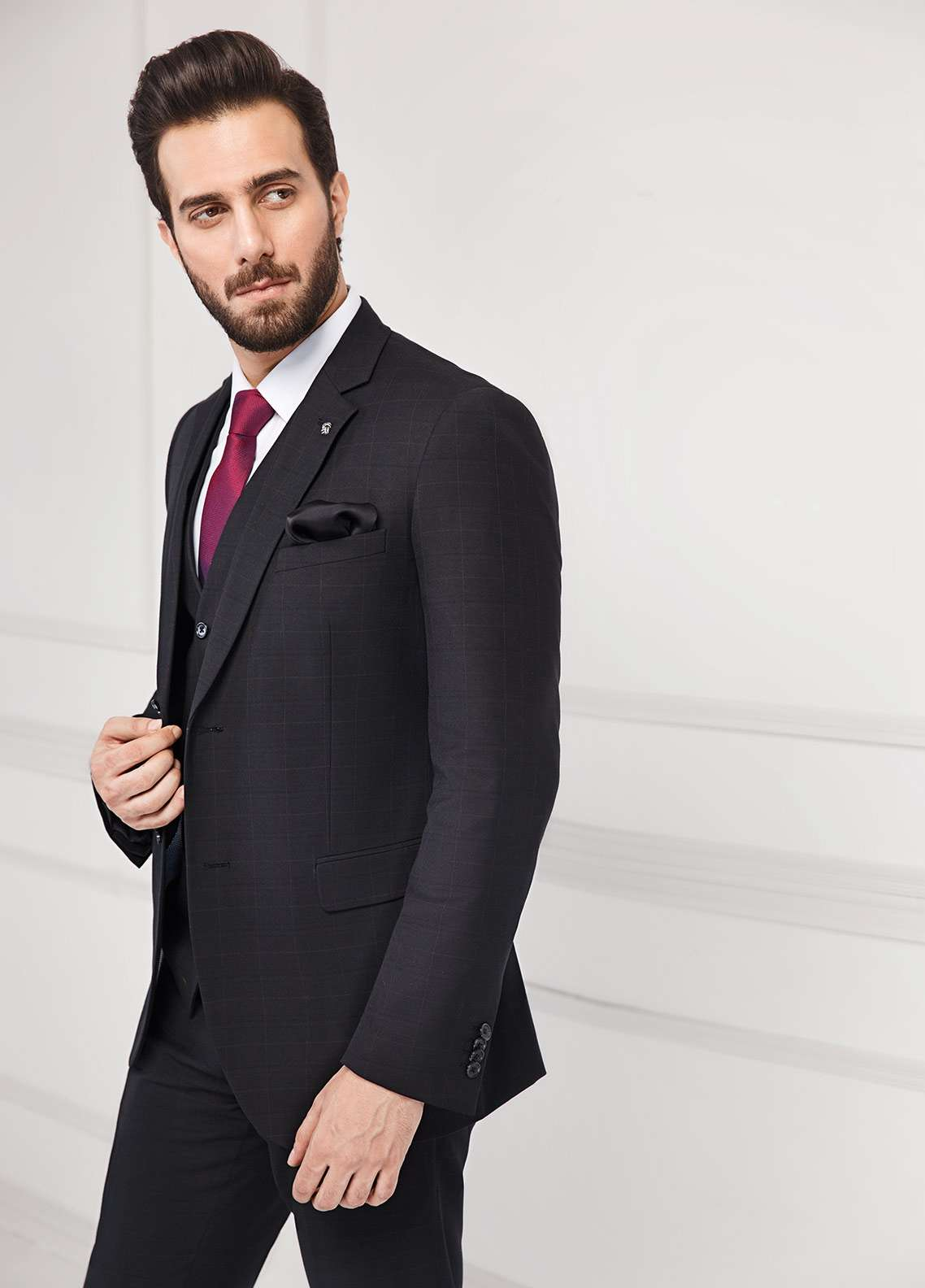 Edenrobe Cotton Formal Suits for Men - Black EDM18FS 8082