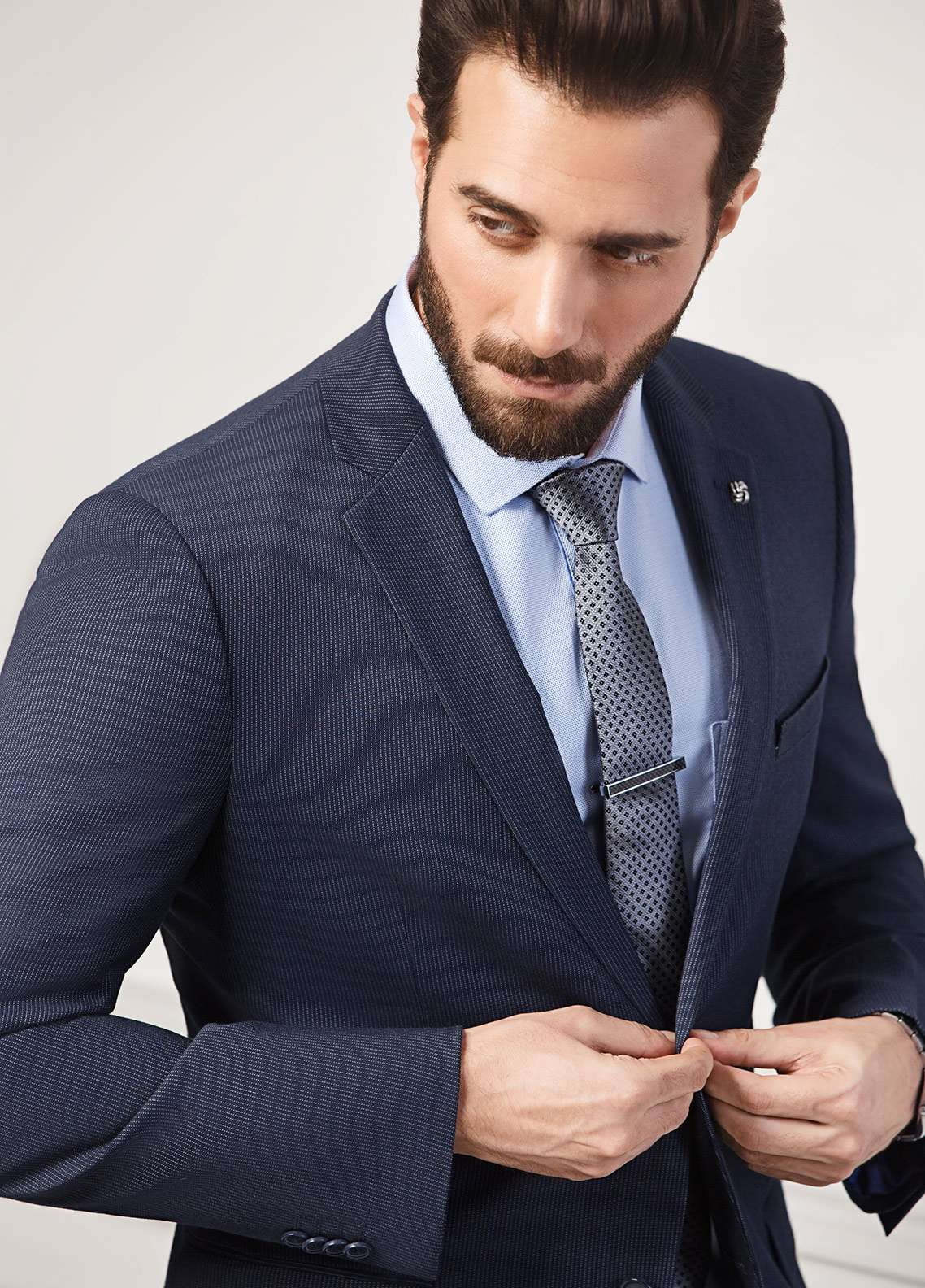 Edenrobe Cotton Formal Men Suits - Navy Blue EDM18FS 8089