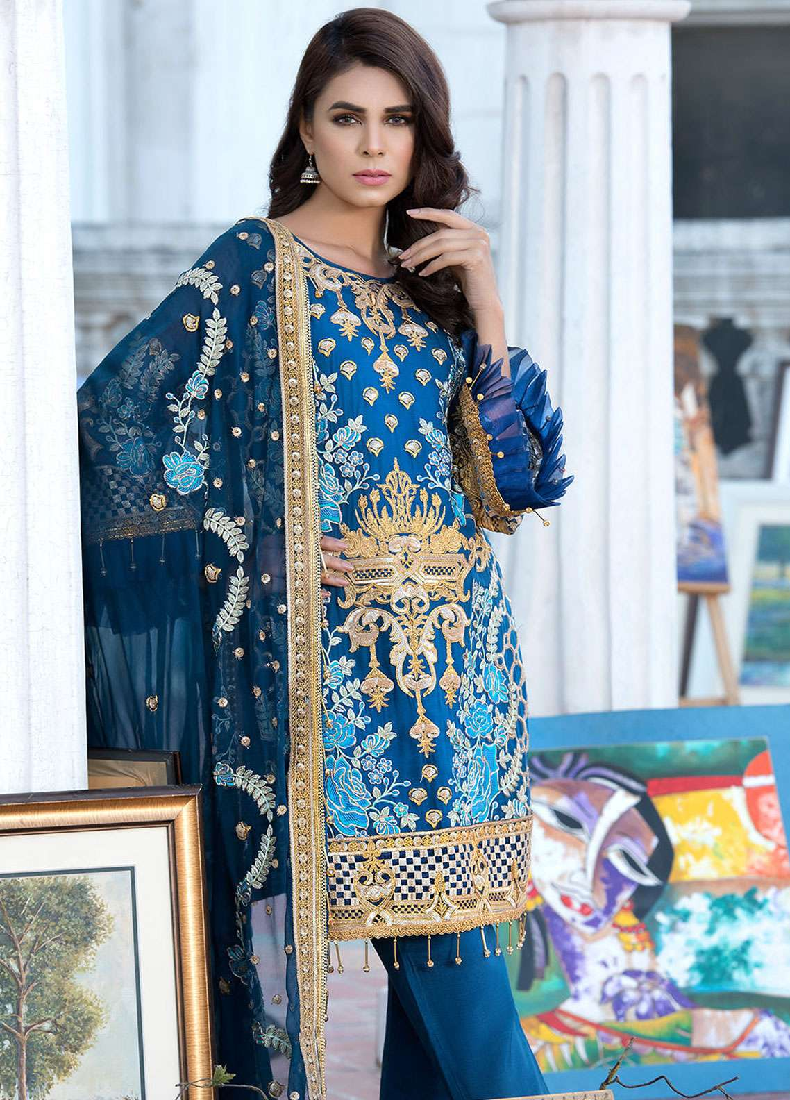 Elaf Embroidered Chiffon Unstitched 3 Piece Suit ELF19C 03 - Luxury Collection