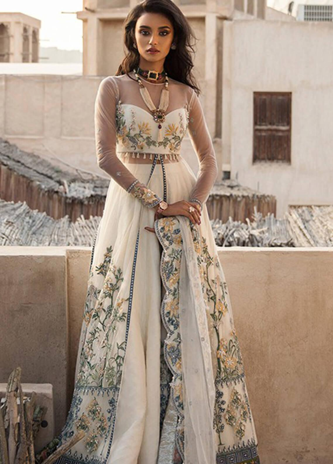 Elan Embroidered Poly Net Unstitched 3 Piece Suit EL19F 01 AREZOO - Festive Collection