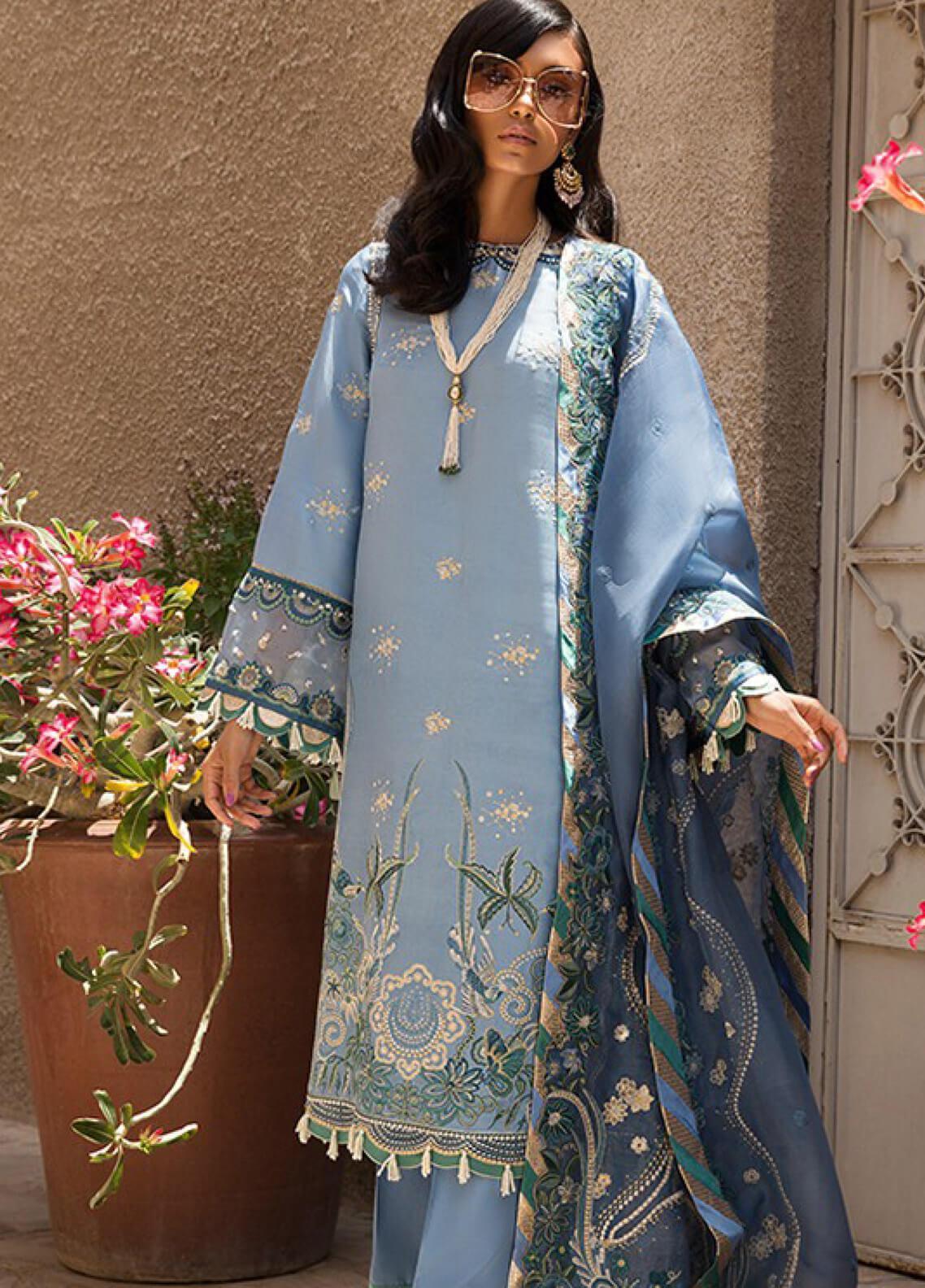 Elan Embroidered Raw SIlk Unstitched 3 Piece Suit EL19F 03 AZUR - Festive Collection