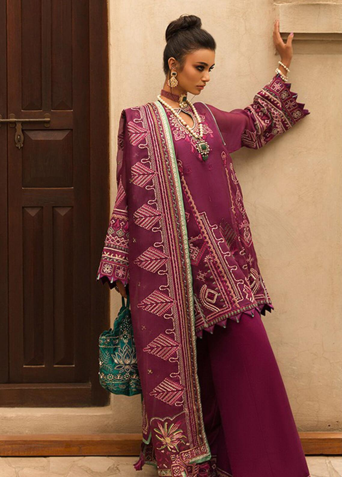 Elan Embroidered Organza Unstitched 3 Piece Suit EL19F 04 NARINA - Festive Collection