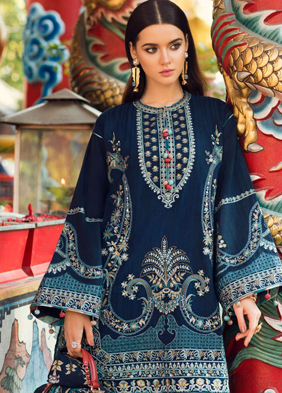 Elan Embroidered Silk Unstitched 3 Piece Suit EL18W Fah - Winter Collection
