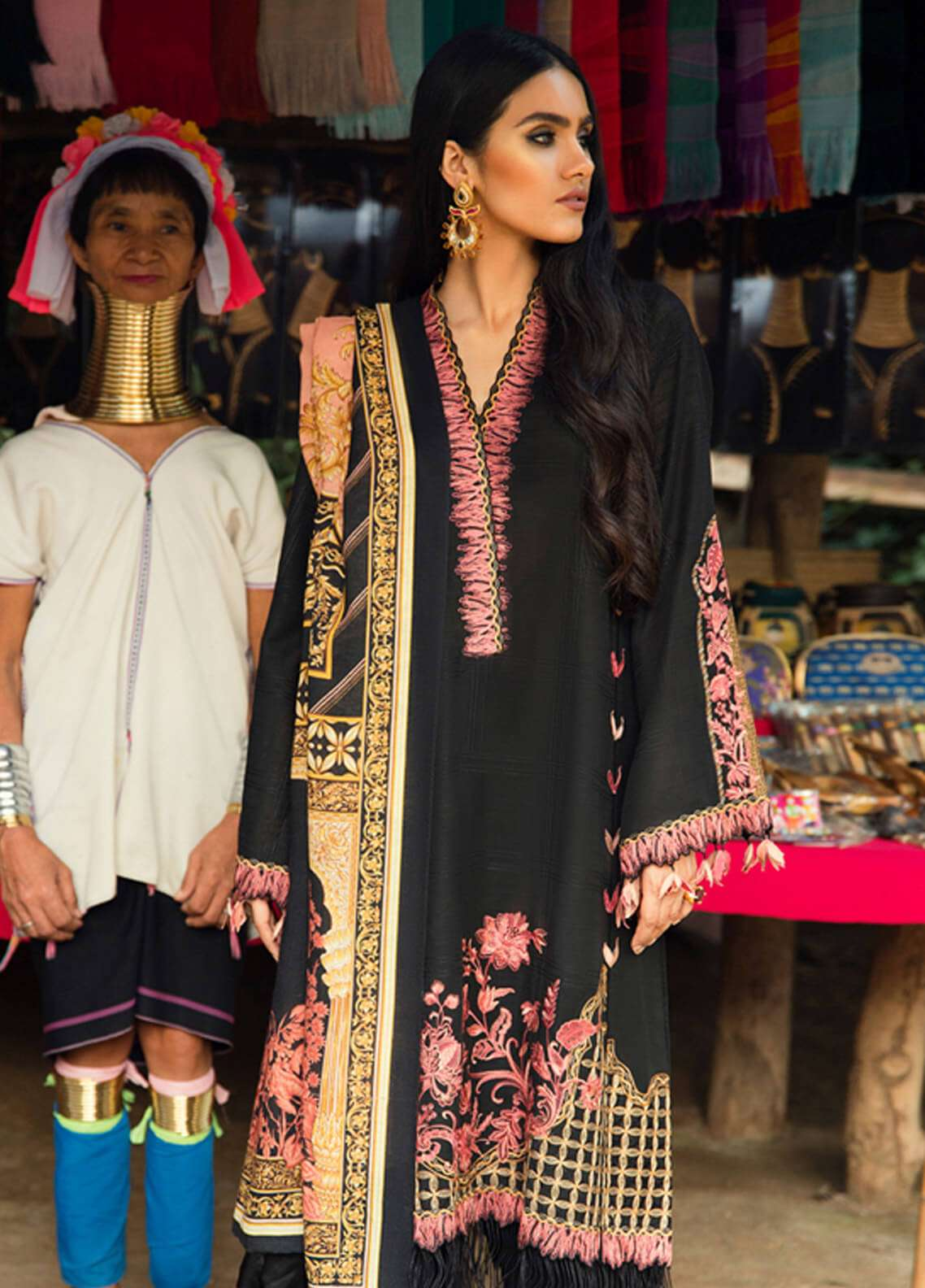 Elan Embroidered Silk Unstitched 3 Piece Suit EL18W Khem Kang - Winter Collection