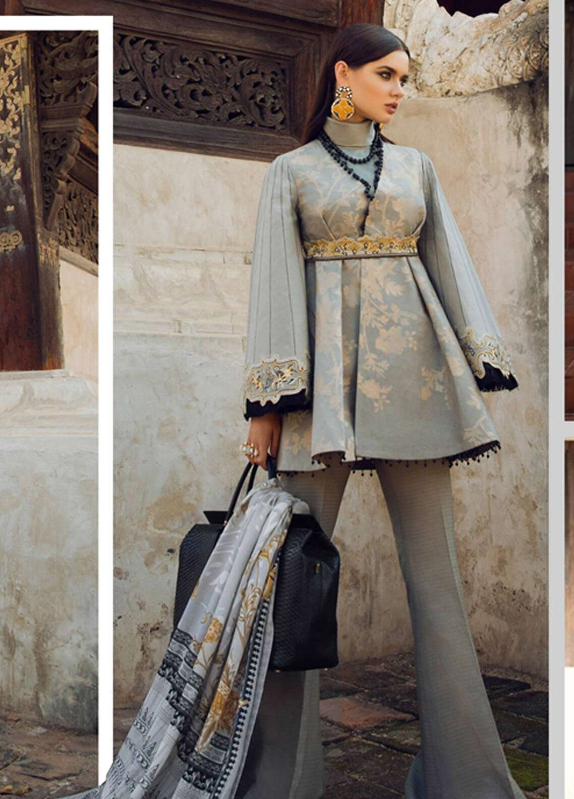 Elan Embroidered Silk Unstitched 3 Piece Suit EL18W Pui Fai - Winter Collection