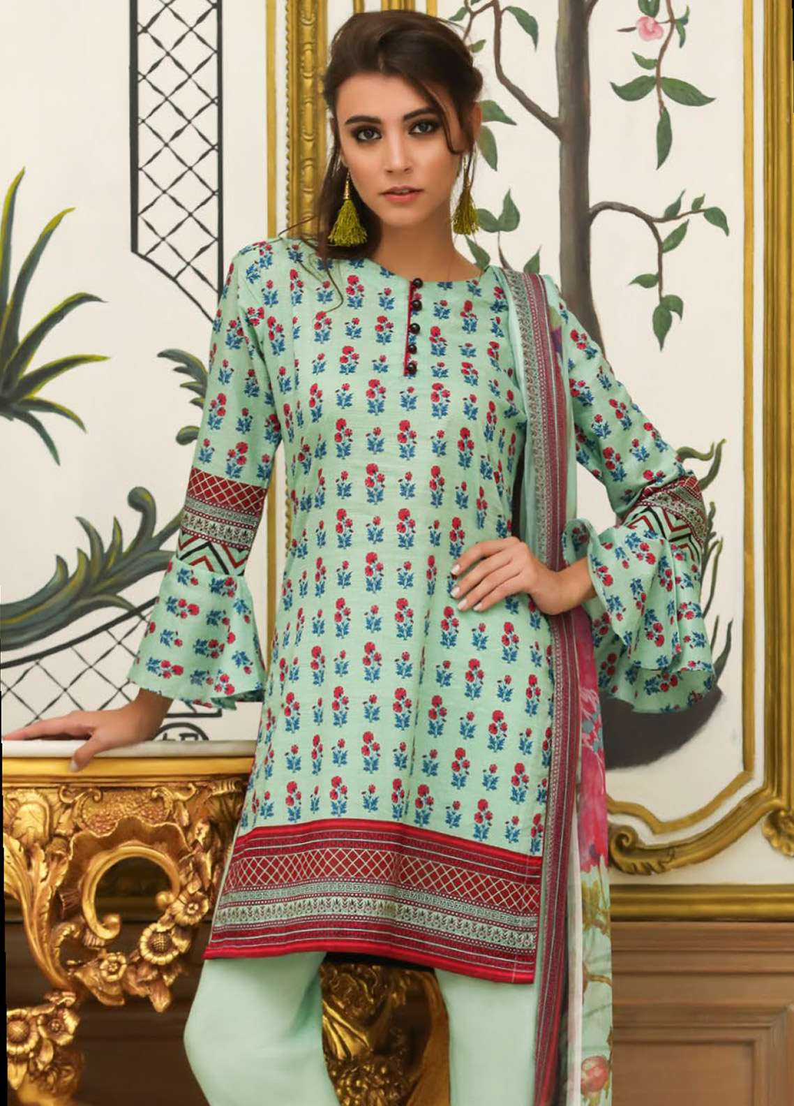 ZS Textile Embroidered Lawn Unstitched 3 Piece Suit EM18L 1A - Eid Collection