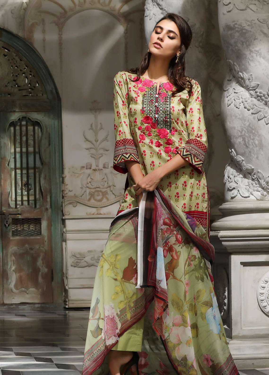 ZS Textile Embroidered Lawn Unstitched 3 Piece Suit EM18L 1B - Eid Collection