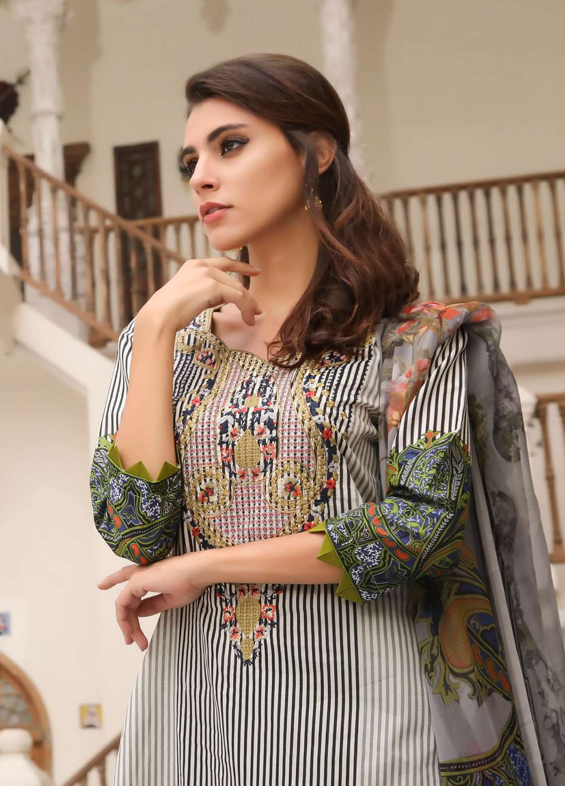 ZS Textile Embroidered Lawn Unstitched 3 Piece Suit EM18L 2A - Eid Collection