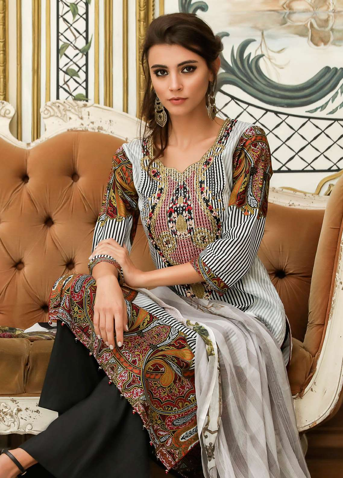 ZS Textile Embroidered Lawn Unstitched 3 Piece Suit EM18L 2B - Eid Collection