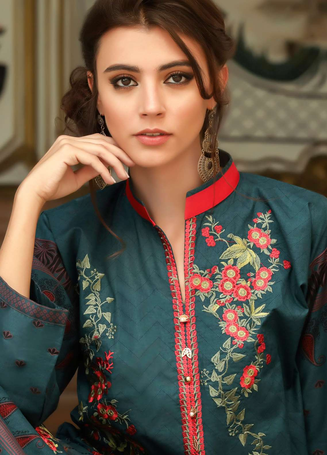 ZS Textile Embroidered Lawn Unstitched 3 Piece Suit EM18L 3A - Eid Collection