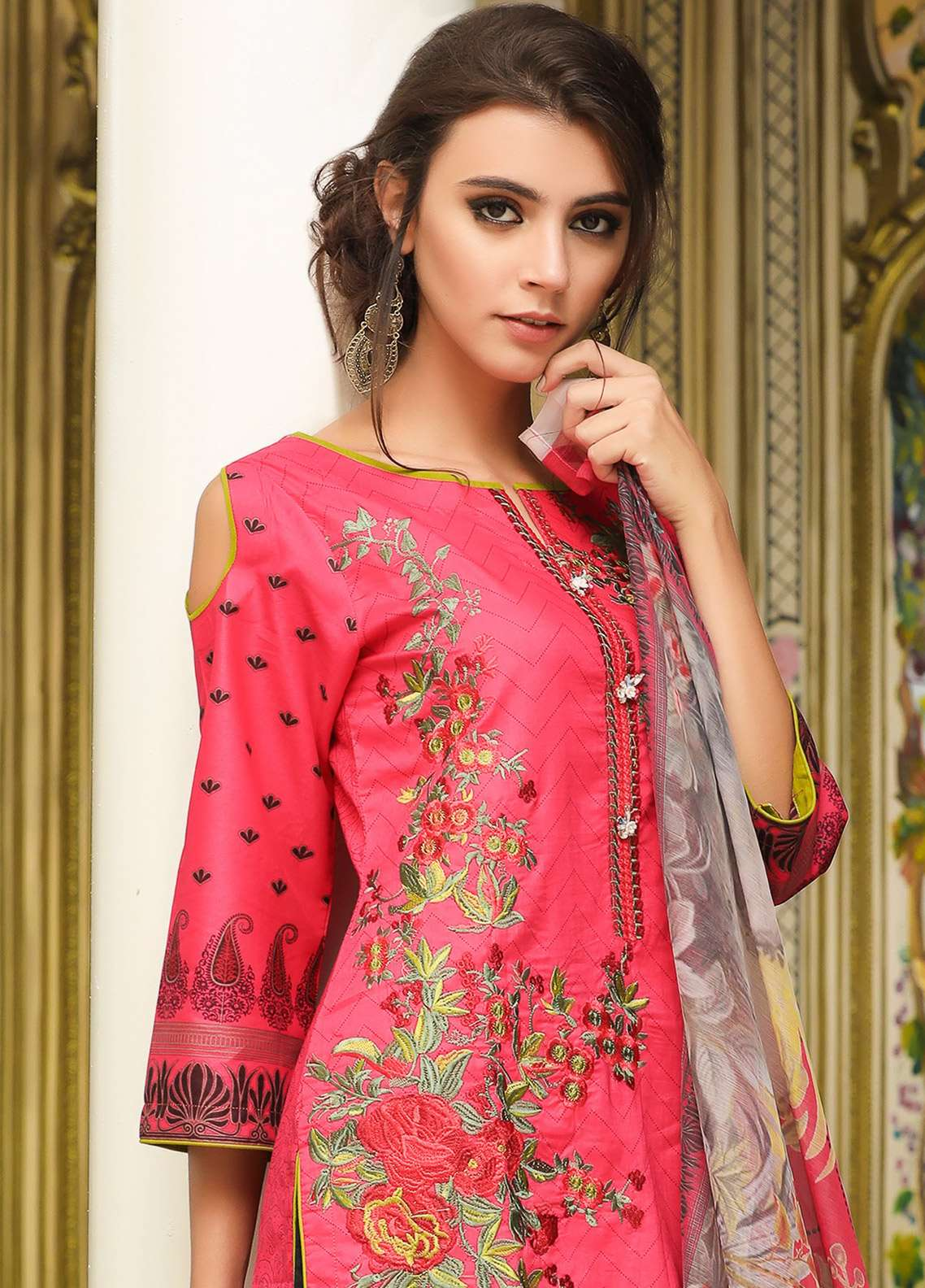ZS Textile Embroidered Lawn Unstitched 3 Piece Suit EM18L 3B - Eid Collection