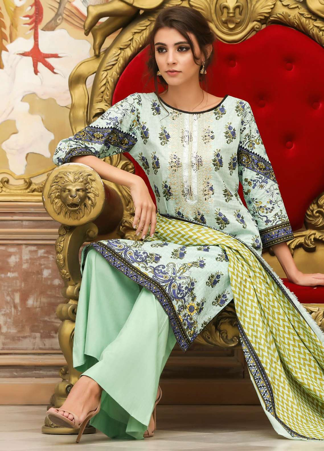 ZS Textile Embroidered Lawn Unstitched 3 Piece Suit EM18L 4A - Eid Collection