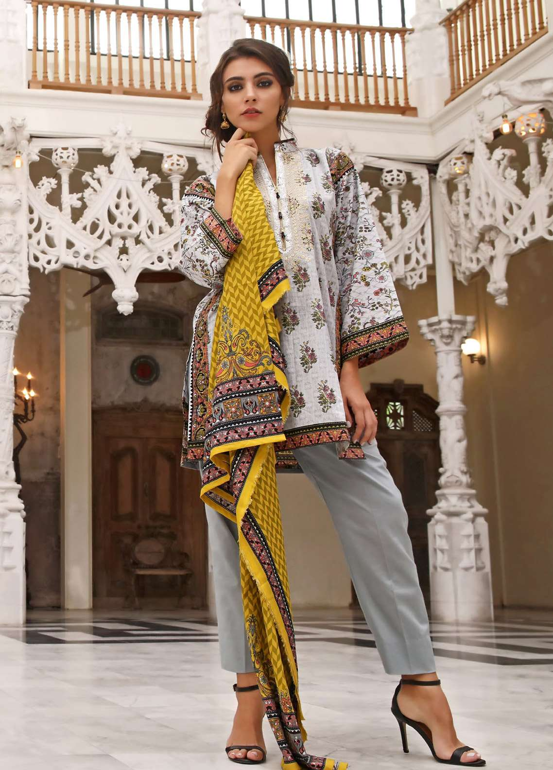 ZS Textile Embroidered Lawn Unstitched 3 Piece Suit EM18L 4B - Eid Collection