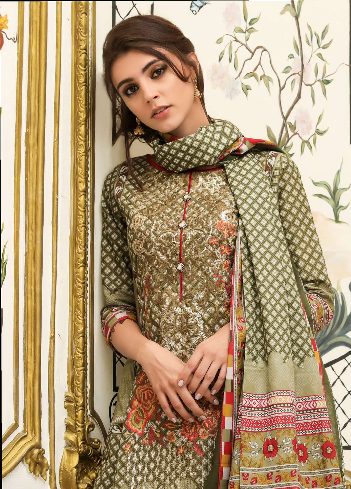 ZS Textile Embroidered Lawn Unstitched 3 Piece Suit EM18L 5A - Eid Collection