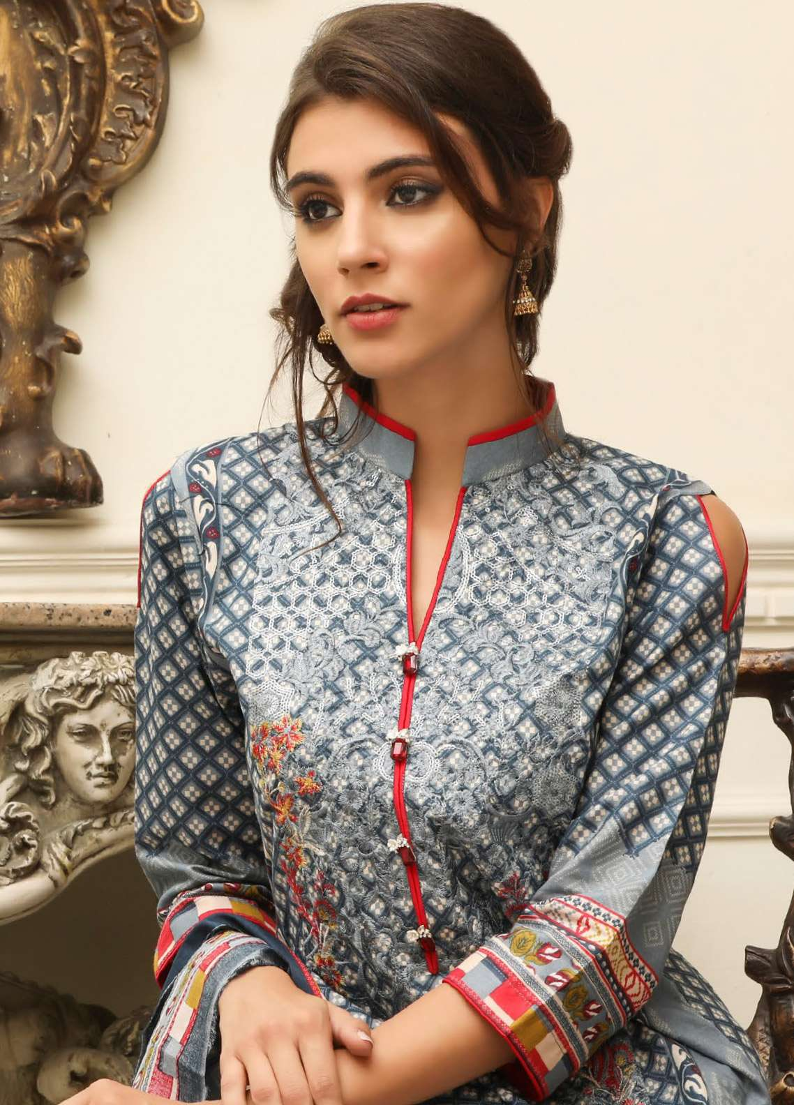 ZS Textile Embroidered Lawn Unstitched 3 Piece Suit EM18L 5B - Eid Collection