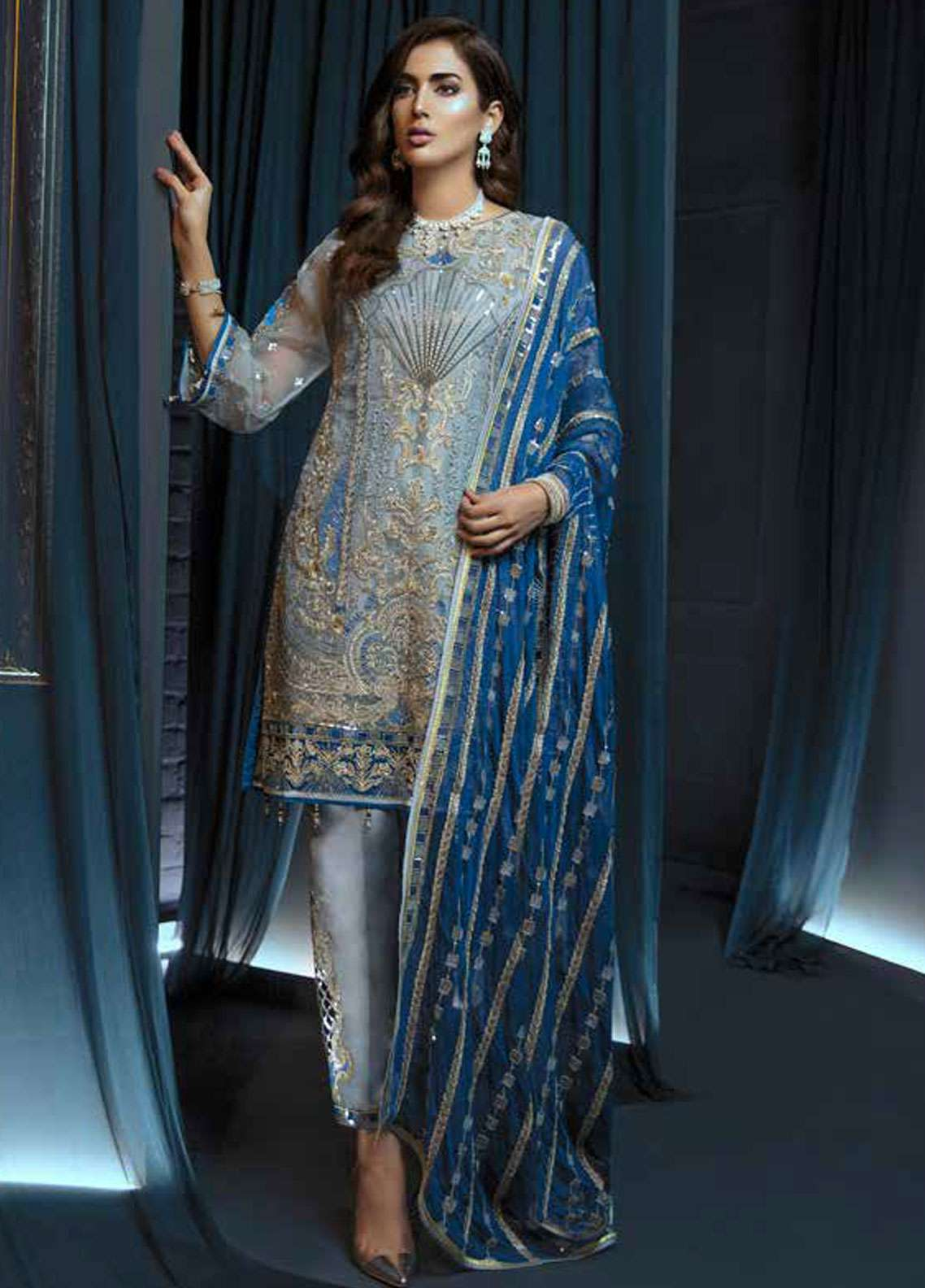 ff698462bf Emaan Adeel Embroidered Chiffon Unstitched 3 Piece Suit EA19C 108 BEJEWELED  SEA - Luxury Collection
