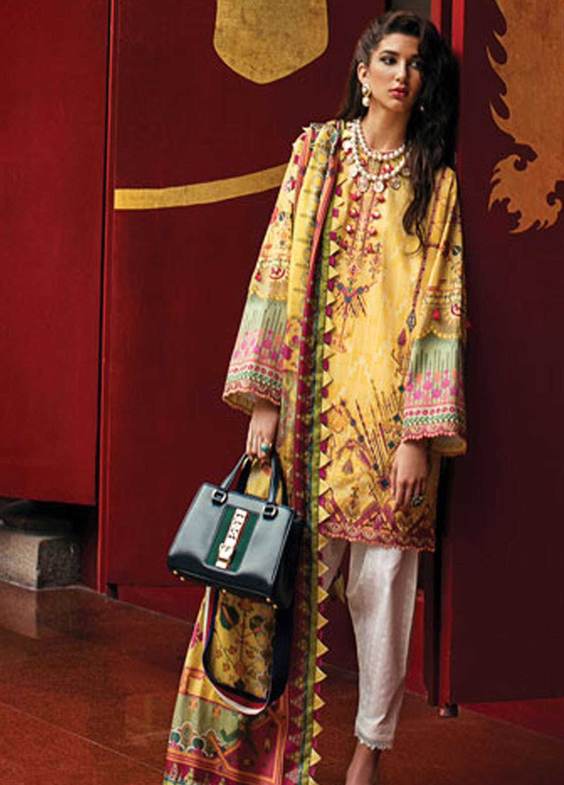 Epoque by Sana Yasir Embroidered Lawn Unstitched 3 Piece Suit EP19L 02 CANARY AZTEC - Spring / Summer Collection