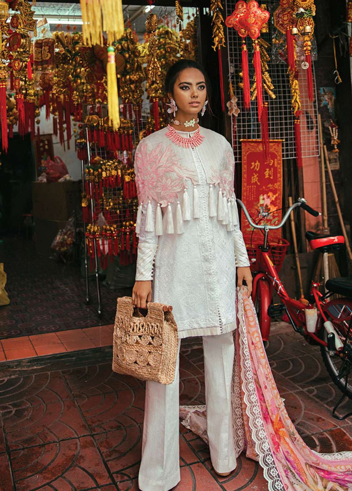 Epoque by Sana Yasir Embroidered Schiffli Unstitched 3 Piece Suit EP19L 03 PEARL CHIKANKARI - Spring / Summer Collection
