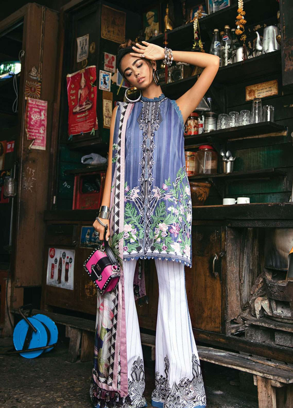 Epoque by Sana Yasir Embroidered Lawn Unstitched 3 Piece Suit EP19L 07 AZURE - Spring / Summer Collection