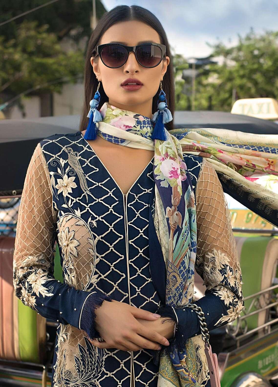 Erum Khan Embroidered Raw Silk Unstitched 3 Piece Suit EK19C SAPPHIRE DREAM - Luxury Collection
