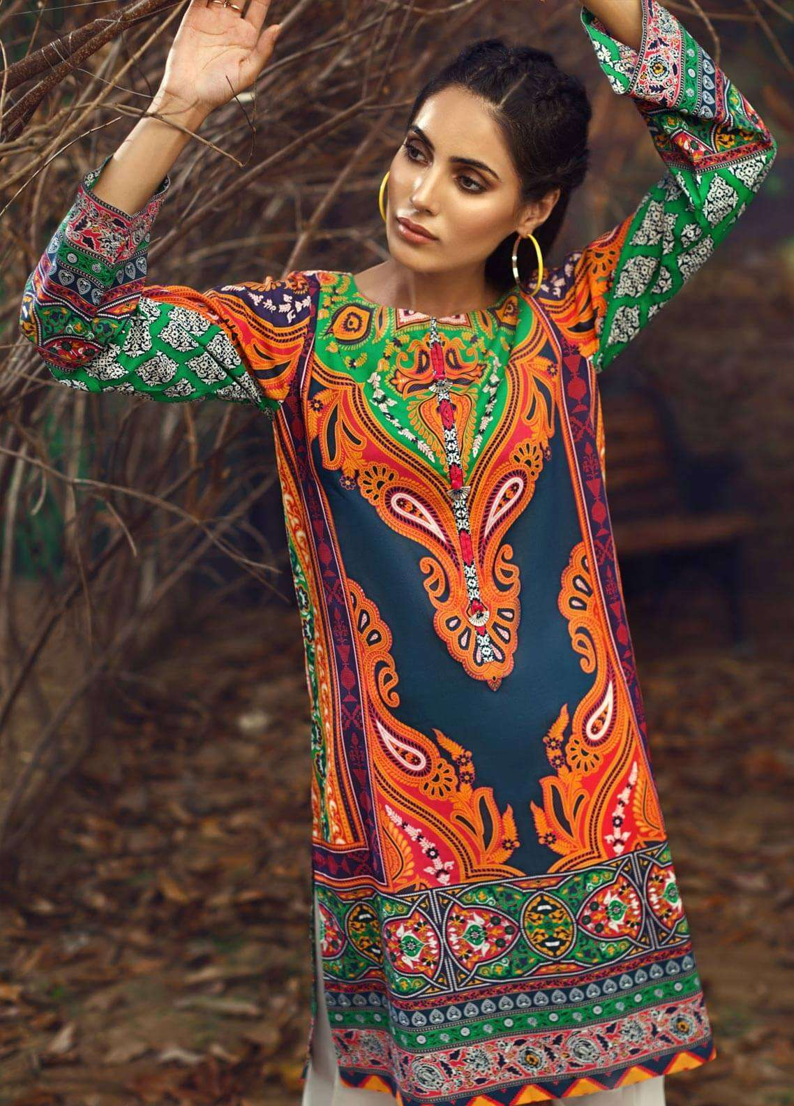 LimeLight Printed Cambric Unstitched Kurties ETHNIC GLORE (BLUE) - Cambric Collection