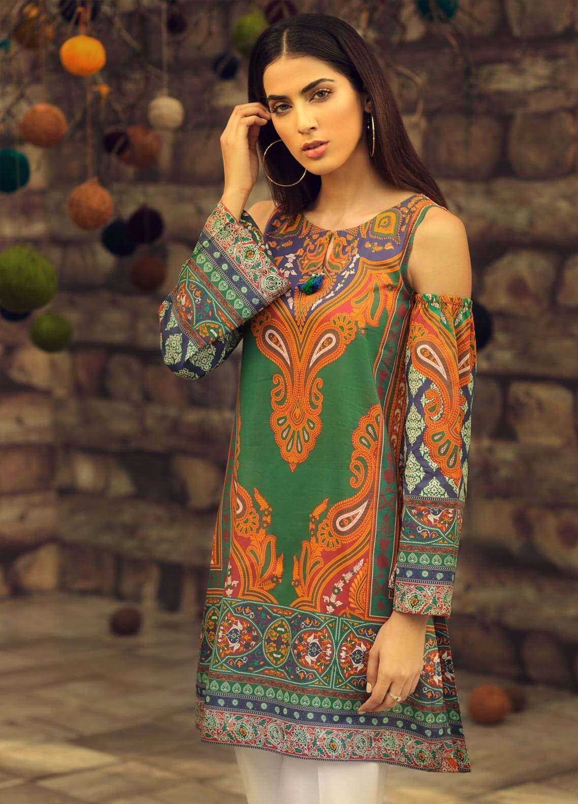 LimeLight Printed Cambric Unstitched Kurties ETHNIC GLORE (GREEN) - Cambric Collection