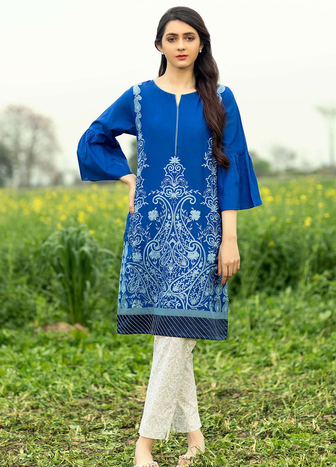 Festive Embroidered Cotton Net Stitched Kurtis F19SE115 Blue