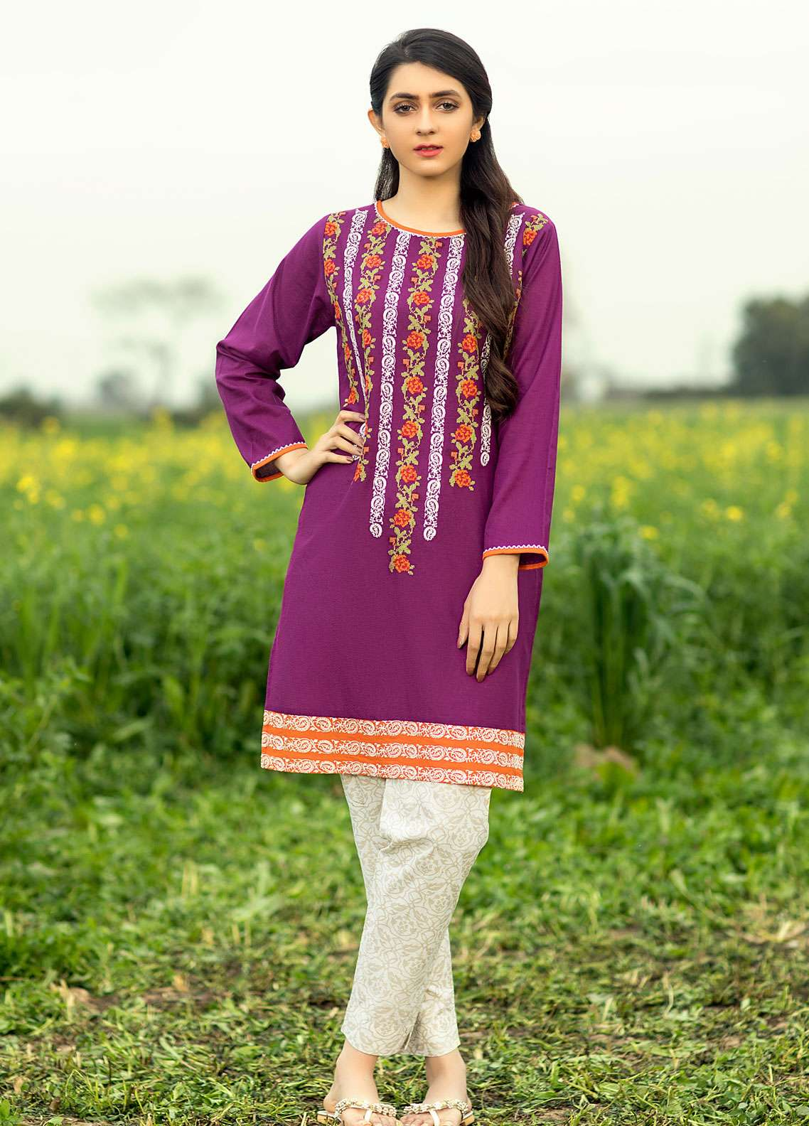 Festive Embroidered Cotton Net Stitched Kurtis F19SE116 Purple