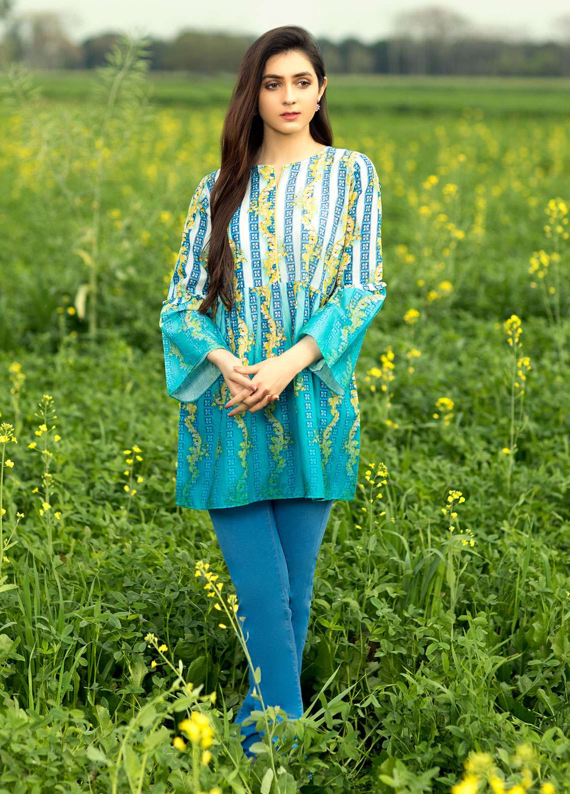 Festive Embroidered Cotton Net Stitched Kurtis F19SP114 Mix