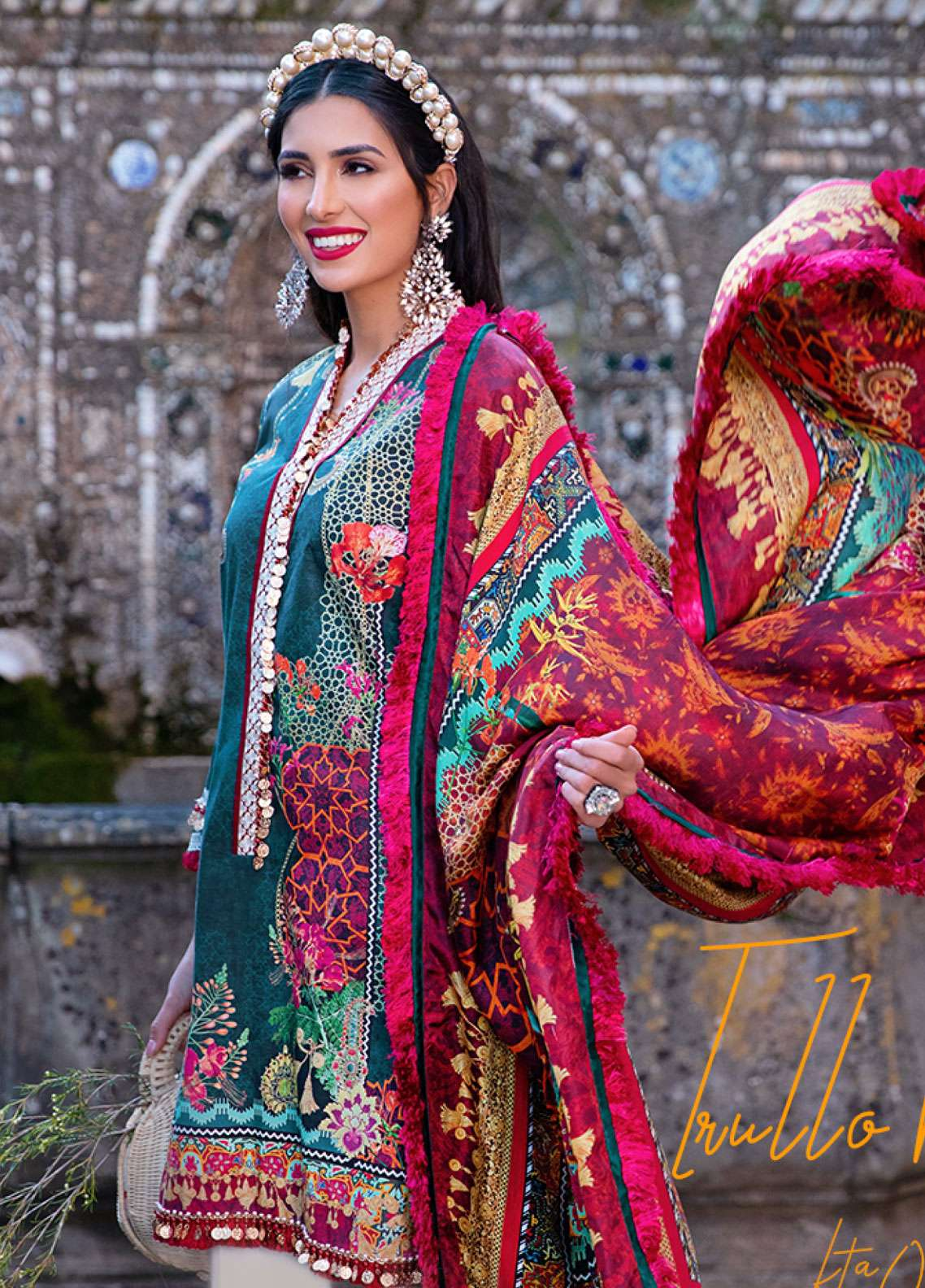 Farah Talib Embroidered Lawn Unstitched 3 Piece Suit FTA19L 1 Trullo Ruby - Spring / Summer Collection