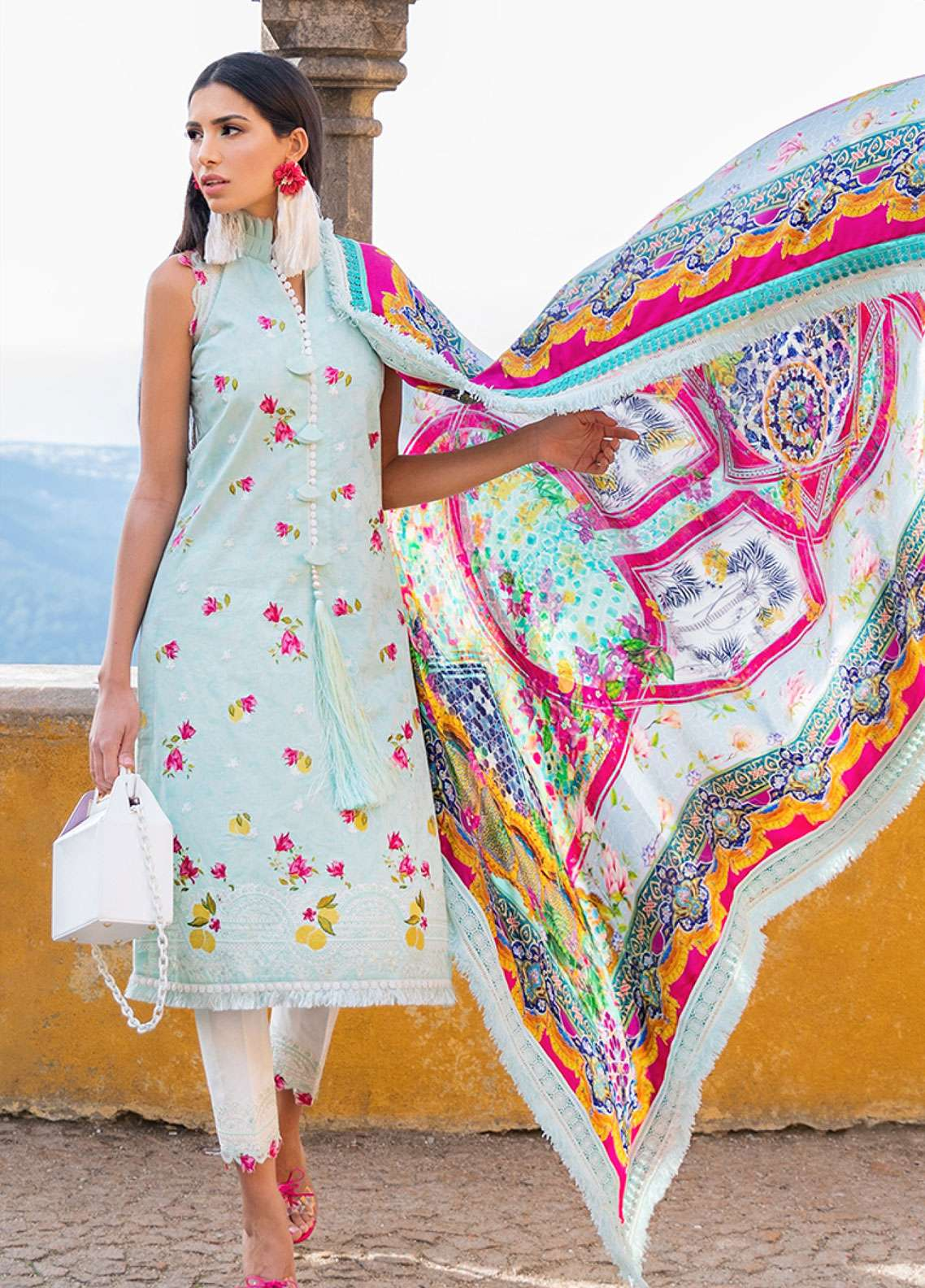 Farah Talib Embroidered Lawn Unstitched 3 Piece Suit FTA19L 10 Aqua Limo - Spring / Summer Collection
