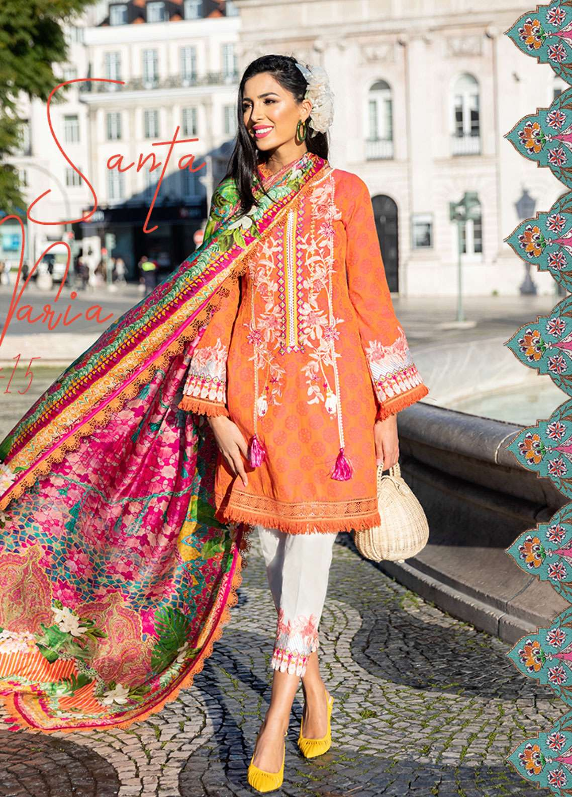 Farah Talib Embroidered Lawn Unstitched 3 Piece Suit FTA19L 15 Santa Maria - Spring / Summer Collection