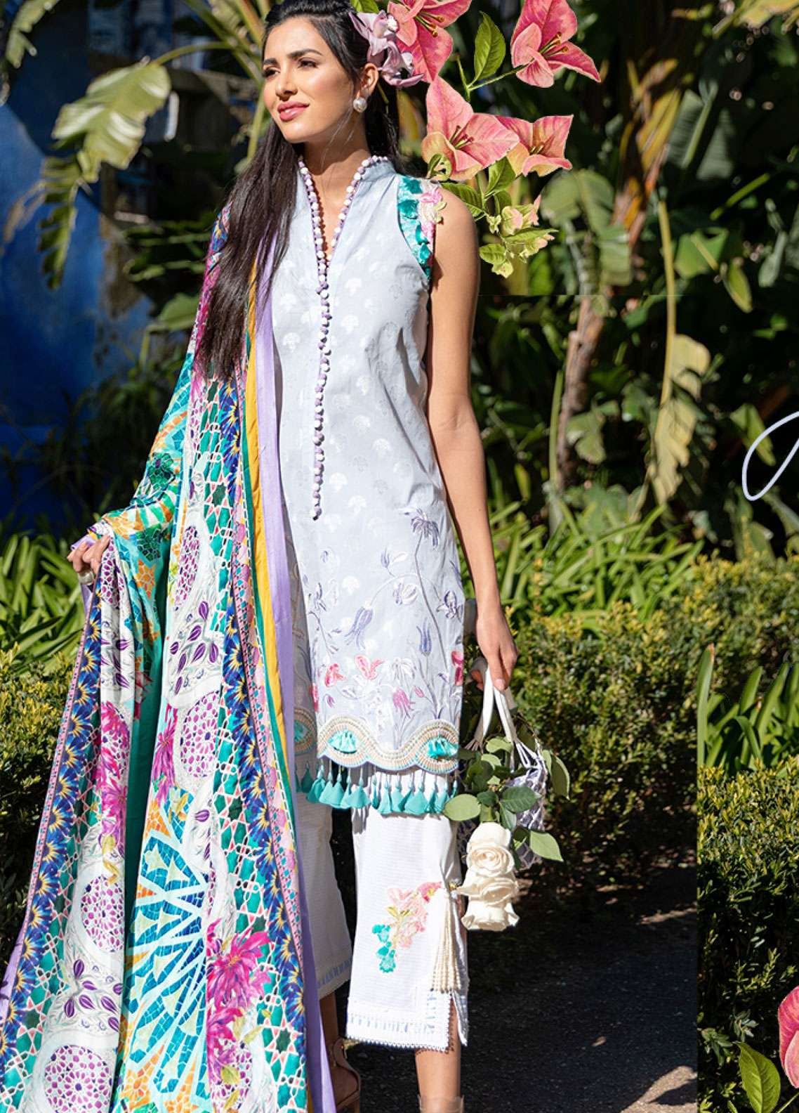 Farah Talib Embroidered Lawn Unstitched 3 Piece Suit FTA19L 2 Azul - Spring / Summer Collection