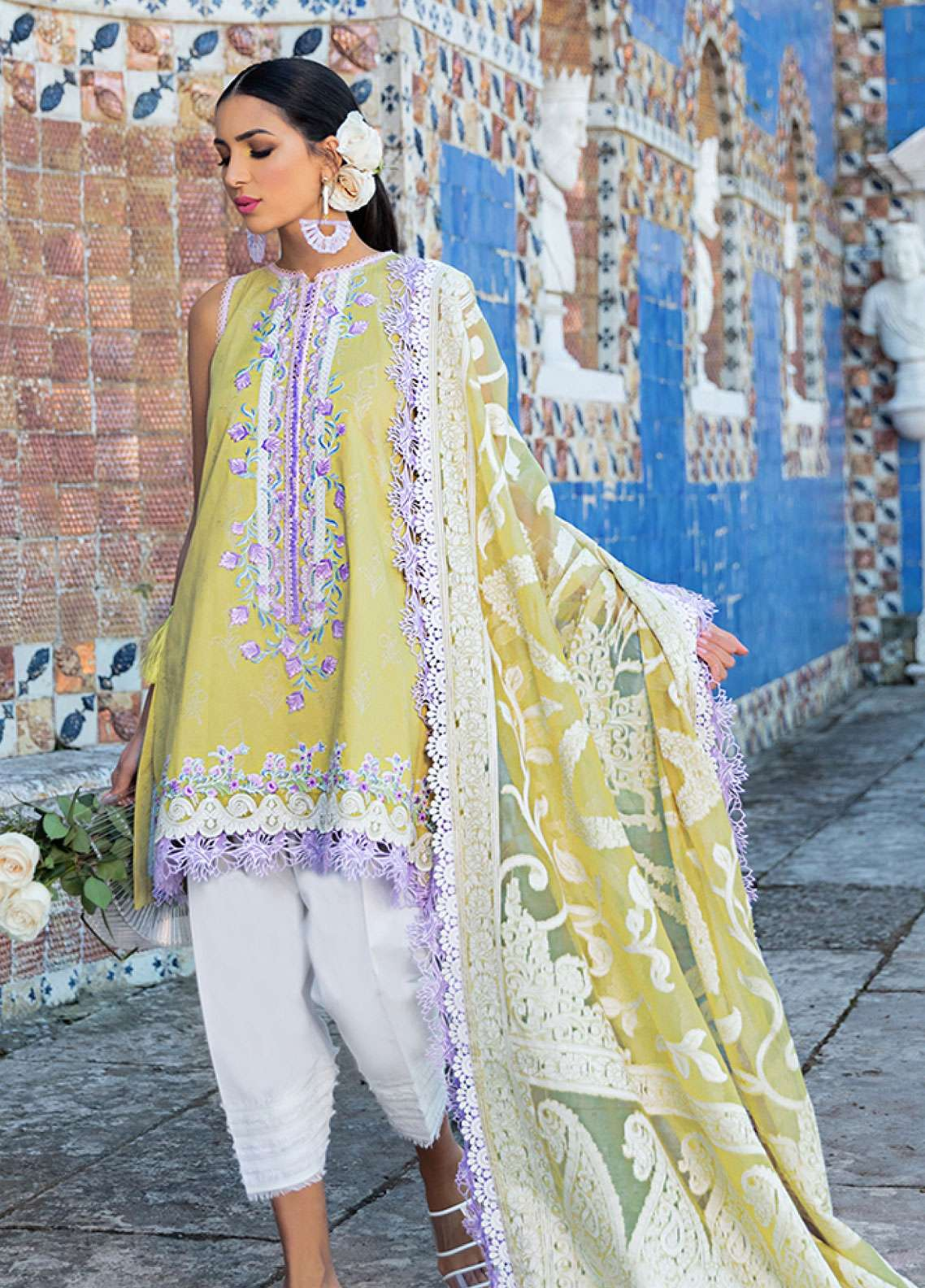 Farah Talib Embroidered Lawn Unstitched 3 Piece Suit FTA19L 4 Kiwi Lavanda - Spring / Summer Collection