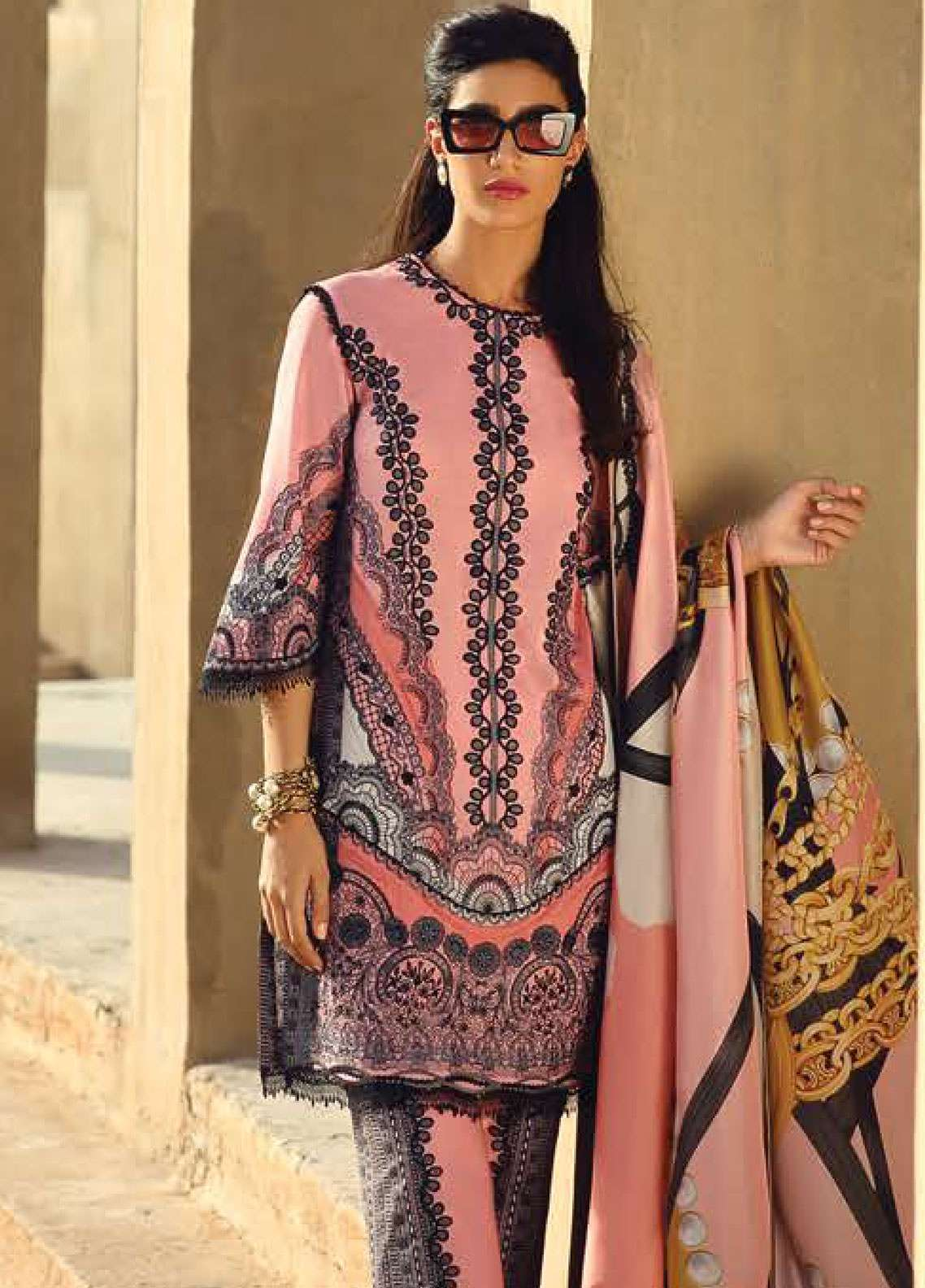 Faraz Manan Embroidered Pima Cotton Unstitched 3 Piece Suit FZM19L 11 - Spring / Summer Collection