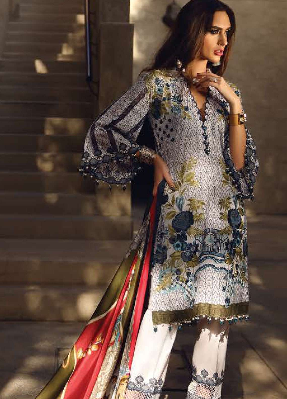 Faraz Manan Embroidered Pima Cotton Unstitched 3 Piece Suit FZM19L 12 - Spring / Summer Collection