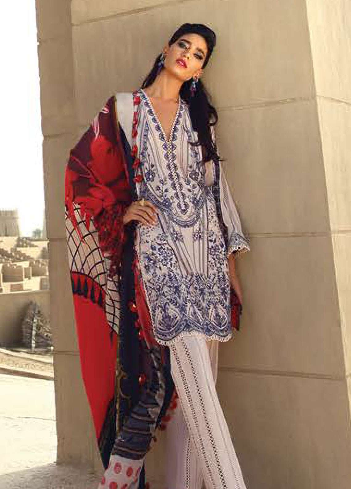 Faraz Manan Embroidered Pima Cotton Unstitched 3 Piece Suit FZM19L 3 - Spring / Summer Collection