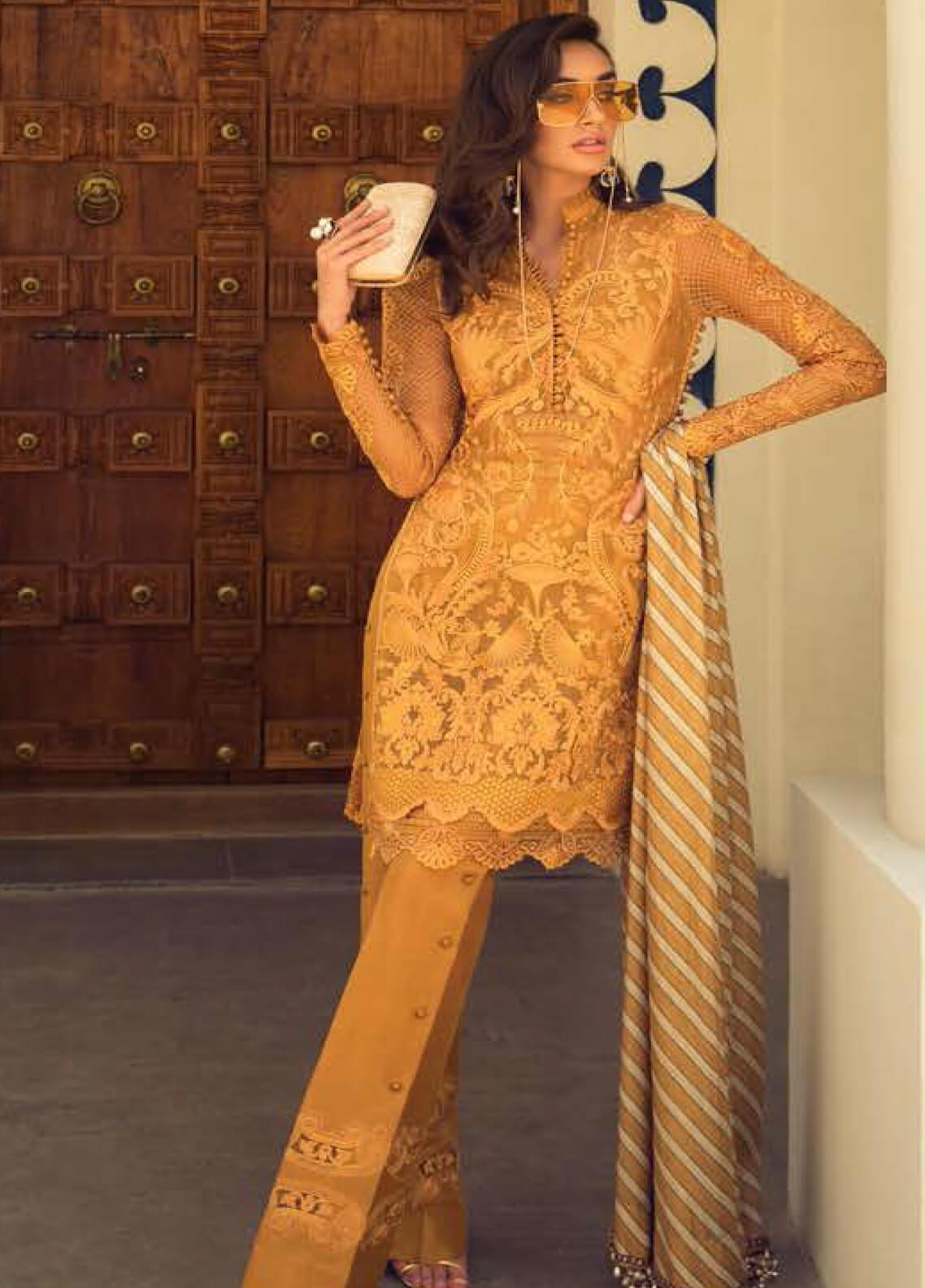 Faraz Manan Embroidered Organza Unstitched 3 Piece Suit FZM19LX 08 - Luxury Collection
