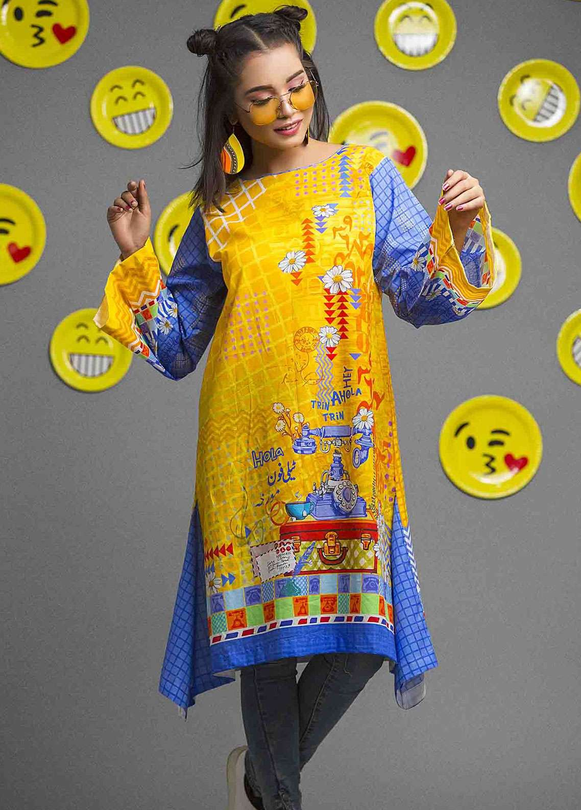 Fateh Printed Cambric Unstitched Kurties FS-0082 - Spunk Collection