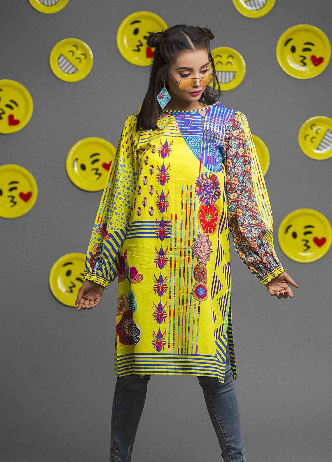 Fateh Printed Cambric Unstitched Kurties FS-0083 - Spunk Collection