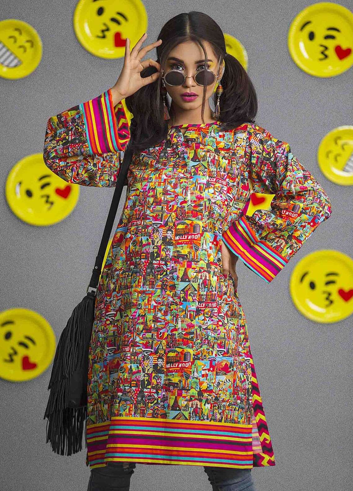 Fateh Printed Cambric Unstitched Kurties FS-0084 - Spunk Collection