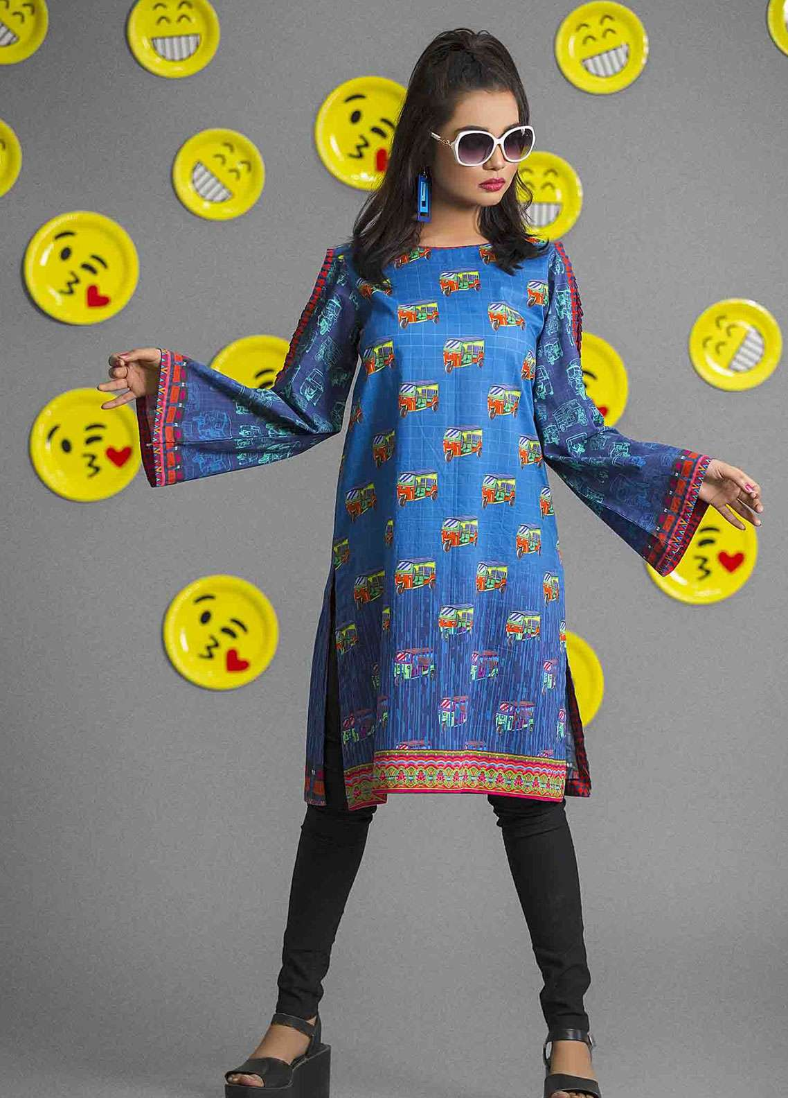 Fateh Printed Cambric Unstitched Kurties FS-0087 - Spunk Collection